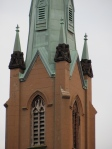 One of the steeples of the Church of the Assumption.
